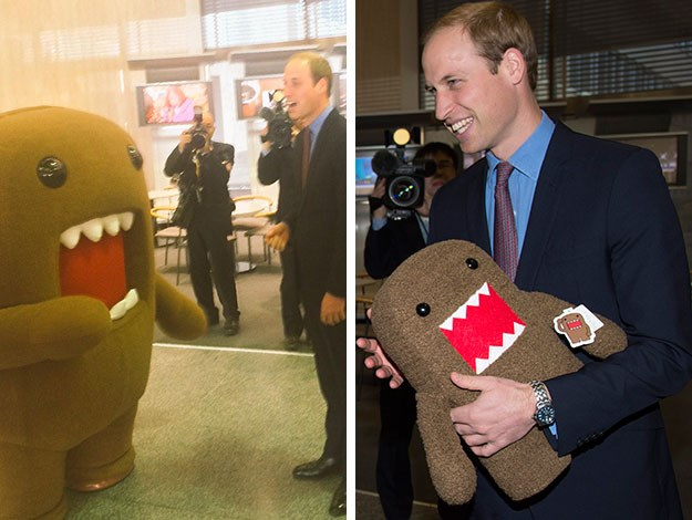 The TV set was part of his tour of NHK Public Broadcasting Studios, where he also met with the station's mascot – an oversized cartoon character named Domo-Kun - and got a mini stuffed version to take home to Prince George!