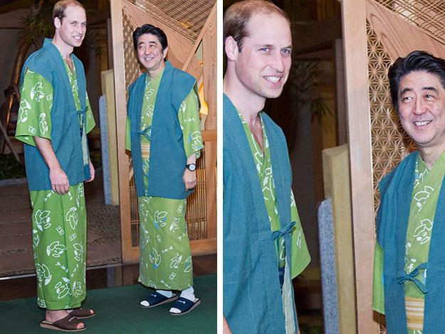 The Prince also got into the spirit of things while meeting with Prime Minister Shinzo Abe in Fukushima, wearing a traditional 'yukata' robe.