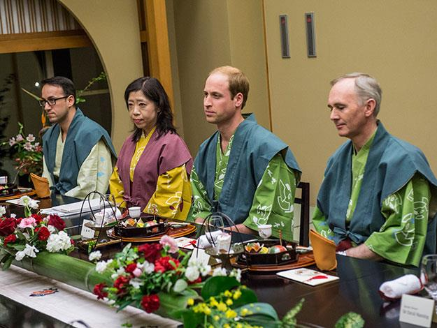 Prince William ate a traditional dinner with the Prime Minister at an authentic Japanese Ryoka, or guest house.