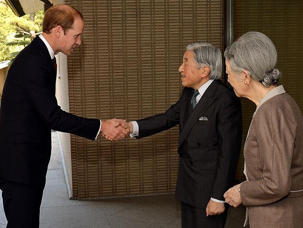 The Prince visited the royal Palace in Tokyo to meet with the Emperor Akihito and Empress Michiko