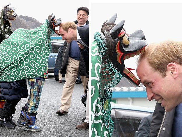 Prince William was greeted by Lion Dancers performing in an Shishimai Ceremony in Onagawa, Japan/