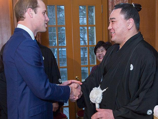 The Prince even got to meet with a real life Sumo wrestling champion - Sumo grand champion Harumafuji shook hands with Prince William at a reception at Togo Palace.