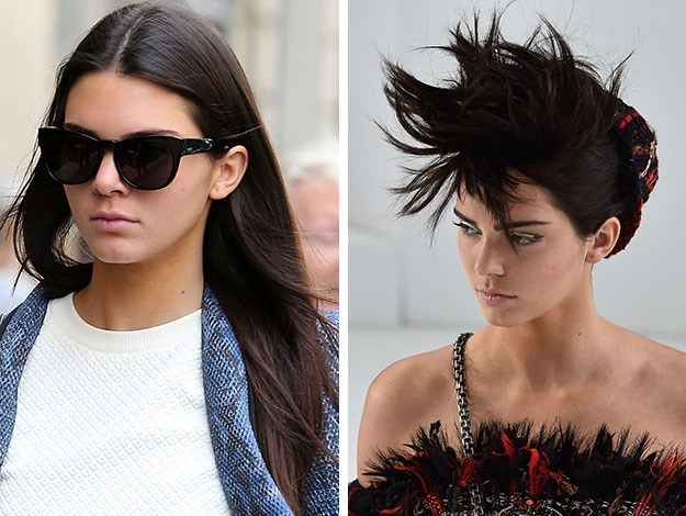 Kendall Jenner sported a new Mohawk-inspired look at Paris Fashion Week too – as she had a makeover to walk the catwalk for Chanel.