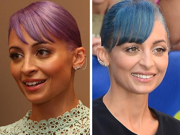 Nicole Richie has toned her lavender locks up a notch to electric blue.