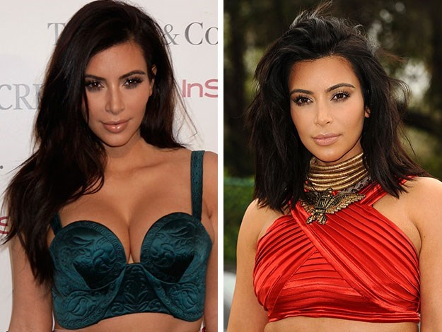 Kim Kardashian also 'lobbed off' her famous long tresses this week, opting for the blunt, long bob look.