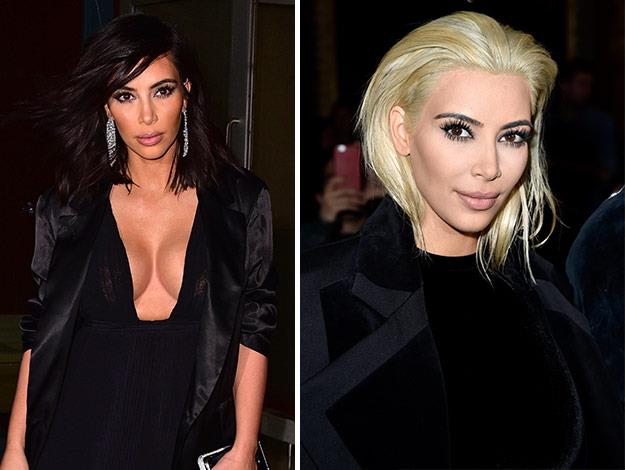 According to Kim Kardashian, platinum blondes have more fun! She debuted her new 'do at Paris Fashion week.
