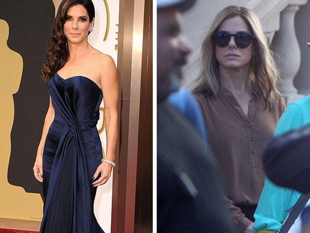 "Sandra Bullock was barely recognisable with a newly blonde 'do on the set of ""Our Brand Is Crisis' in Puerto Rico."