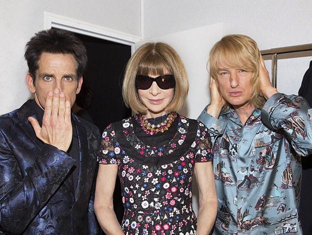 Ben Stiller and Owen Wilson cosy up to Vogue editor Anna Wintour.