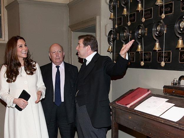 The famous Downton Abbey servants bells are shown to Duchess Catherine.