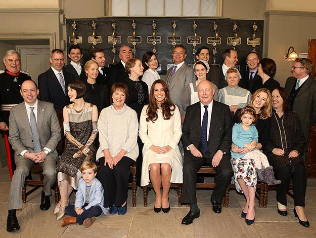 Group shot! The Duchess was front and centre at the set visit.