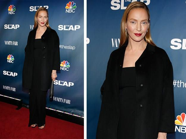 When Uma Thurman stepped out for the New York premiere of NBC's remake of the Australian show 'The Slap', she set tongues wagging. She looked unrecognisable with her bold makeup choice and no mascara.