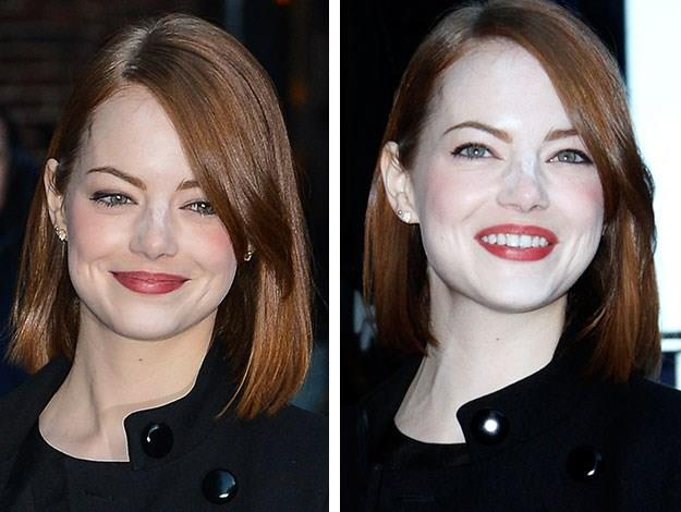 Emma Stone was spotted visiting the Late Show in New York City but oops - looks like she had a bit too much powder on her nose!