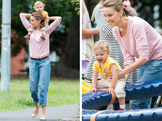 Fifi and Trixie aren't the only mother and daughter who like to coordinate. Rachel Finch's pink top looked like it was made to go with her adorable daughter Violet's shoelaces as she hoisted her up on her shoulders on a day at the playground