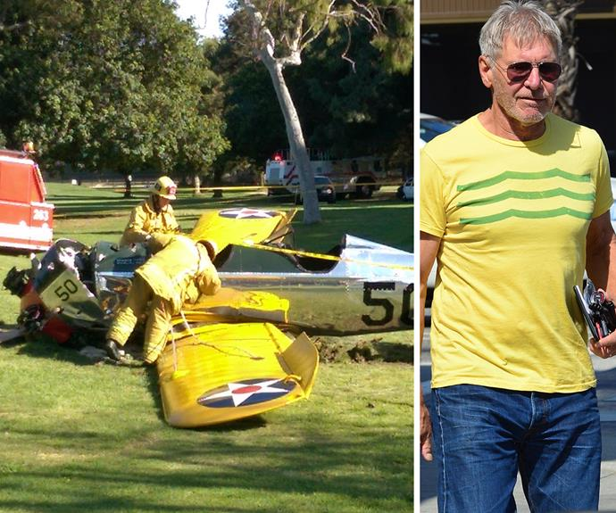 The scene from Harrison's plane crash in March, 2015, and the star following the crash (right).