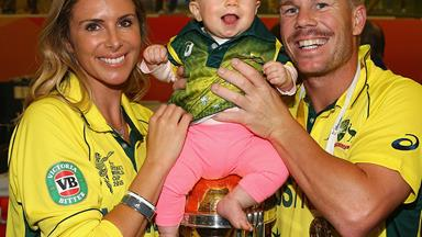 David Warner celebrates cricket win with his girls!