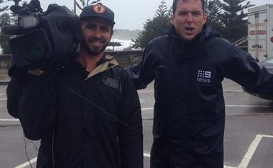 Peter Stefanovic caught in Sydney's wild weather