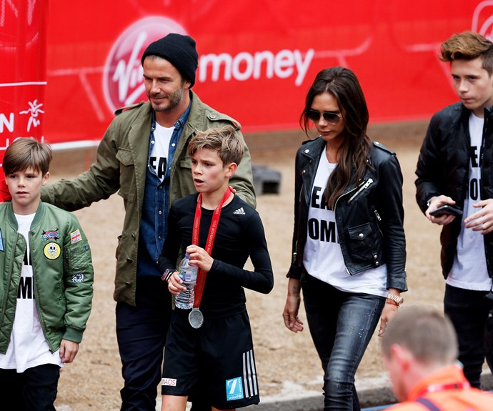 The Beckhams cheer on Romeo as he runs the London marathon