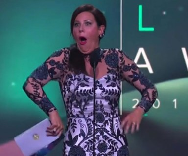Oops! Julia Morris suffers embarrassing onstage slip-up at the Logies!
