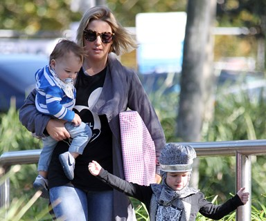 Jules Sebastian is a doting mum with Hudson and Archer at the park