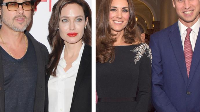 Prince William, Duchess Catherine, Angelina Jolie, Brad Pitt