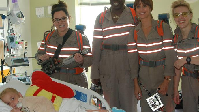 Who you gonna call? Melissa McCartney, Kristin Wiig and the cast of Ghostbusters reboot visit children's hospital