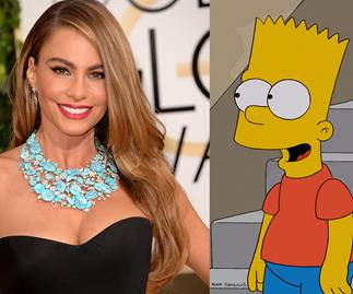 Sofia Vergara and Bart Simpson