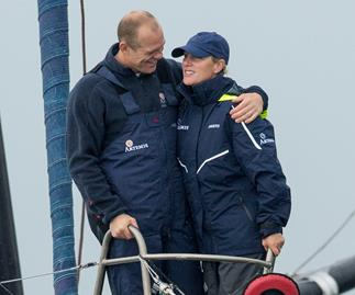Mike Tindall and Zara Phillips sailing