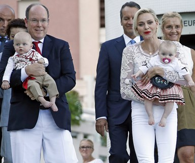 It's a family picnic! Princess Charlene, Prince Albert and twins Jacques and Gabriella step out