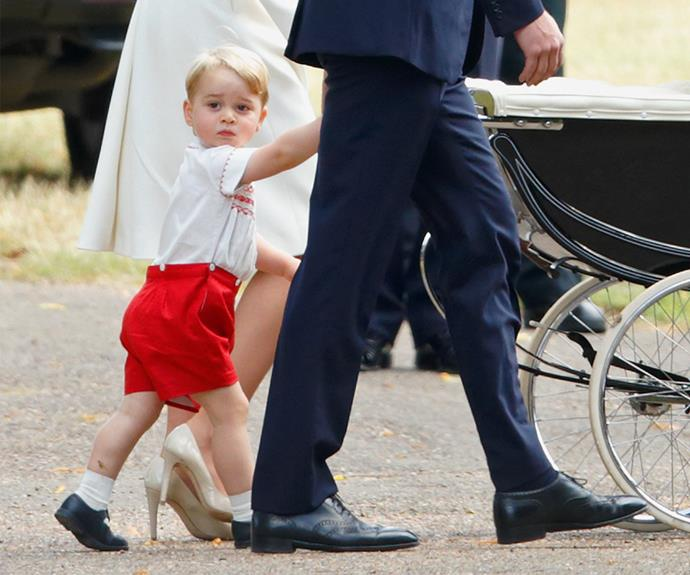 Prince George was on his best behaviour for the big day, wearing an outfit similar to the one his father wore when he met his brother Prince Harry for the first time at the hospital!