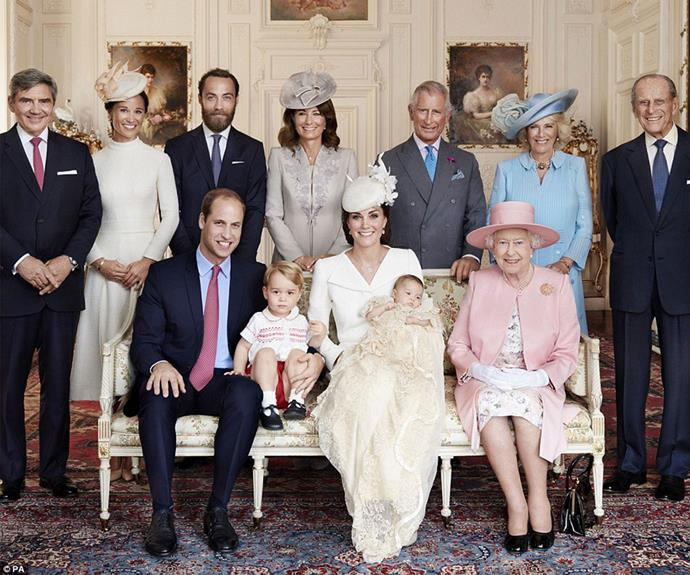Little Charlotte in an official royal snap. The family pose with Michael Middleton, Pippa Middleton, James Middleton, Carole Middleton, Prince Charles, the Duchess of Cornwall, the Duke of Edinburgh and the Queen. Image: Getty