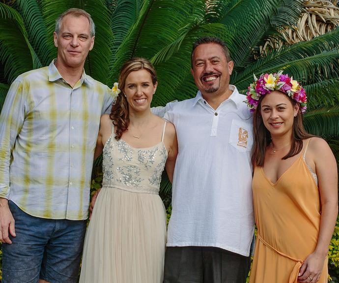 "Mike says Simon (left) is his ""go-to guy"" when he's in trouble. Here, Mike and Joanna are pictured with Simon and his partner Louise."
