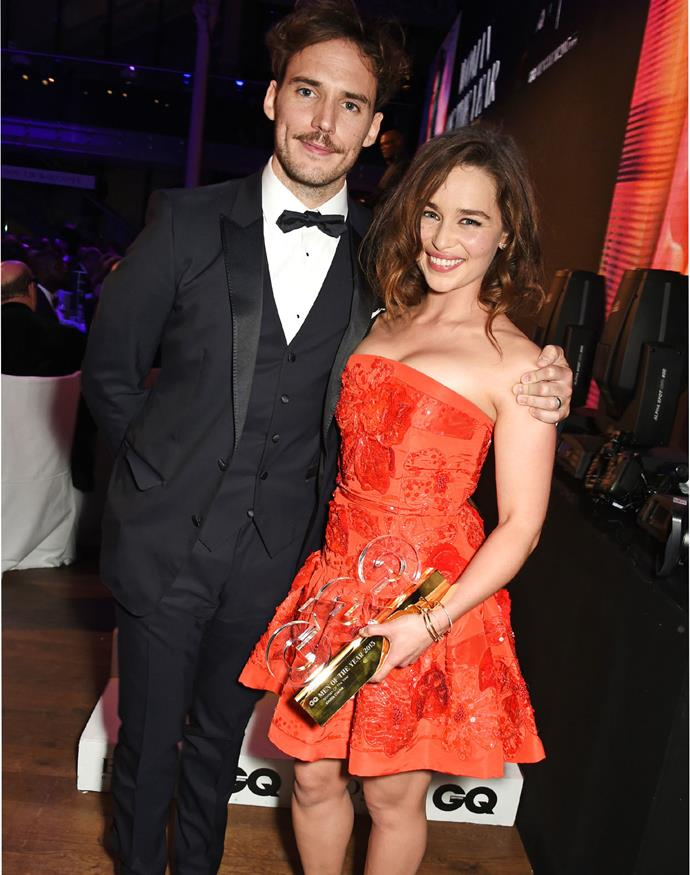Sam Claflin with Emilia Clarke, who won Woman of the Year. Photo: Getty