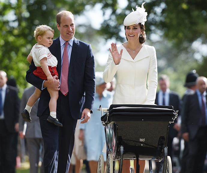 July 2015: Kate waves to well-wishers lined up to see the family attend Princess Charlotte's christening.