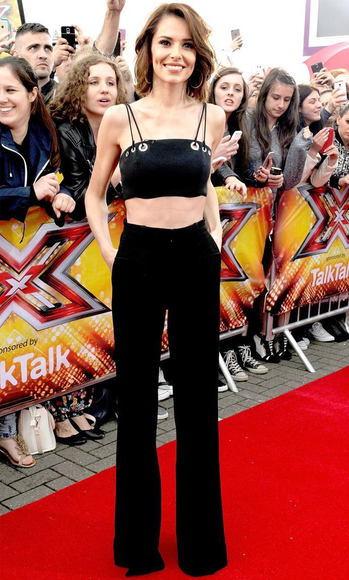 Cheryl Fernandez-Versini in Mugler at the Manchester auditions. Image: Shirlaine Forrest/Getty