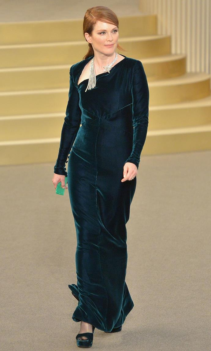 Julianne Moore in Chanel at the label's Fall 2015 show. Image: Dominique Charriau/Getty