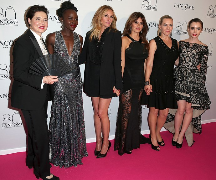 Isabella Rossellini, Lupita Nyong'o, Julia Roberts, Penelope Cruz, Kate Winslet and Lily Collins celebrate Lancome's 80th anniversary in Paris. Image: Pierre Suu/Getty