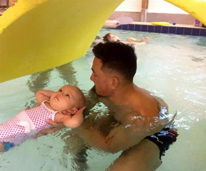 Sonny Bill Williams takes baby Imaan for a swim