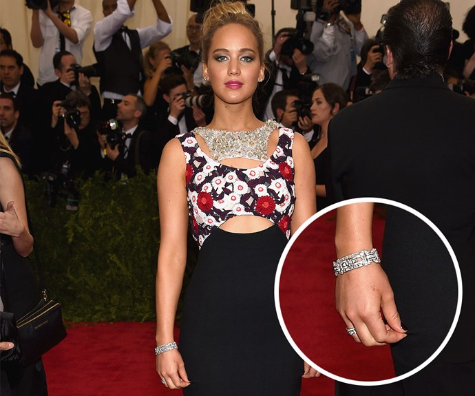 Jennifer Lawrence at the Met Gala this year. Image: Getty