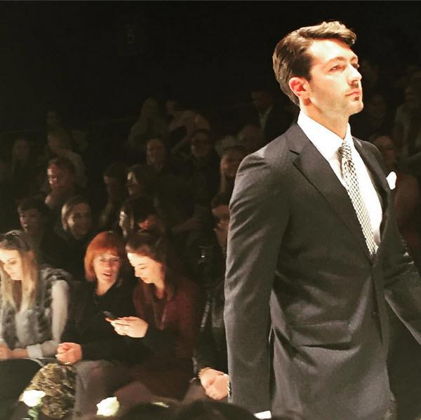 Arthur Green looked right at home modelling on-trend wedding attire at the chic event, looking dapper in a dark suit. Photo: Mandyjacobsen11/Instagram