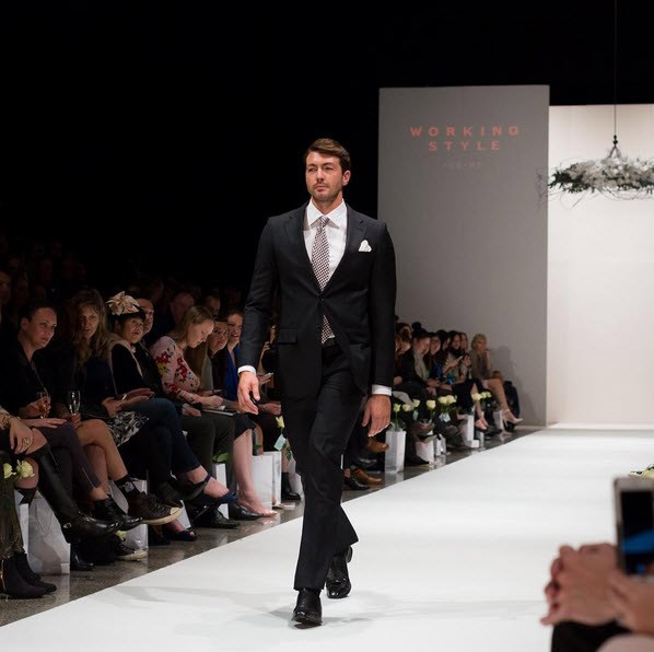 Art wore a suit by label Working Style on the runway. Photo: NZ Fashion Week/Instagram