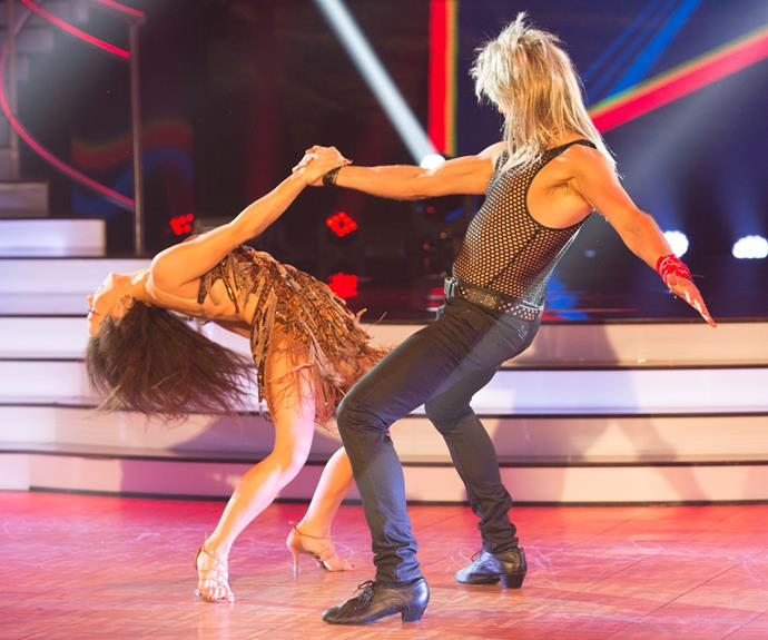 The next week, Simon went full '80s with a mullet and mesh shirt to dance a rock'n'roll-infused samba. The judges loved it and rewarded Simon and Vanessa with their second perfect 10 of the season.