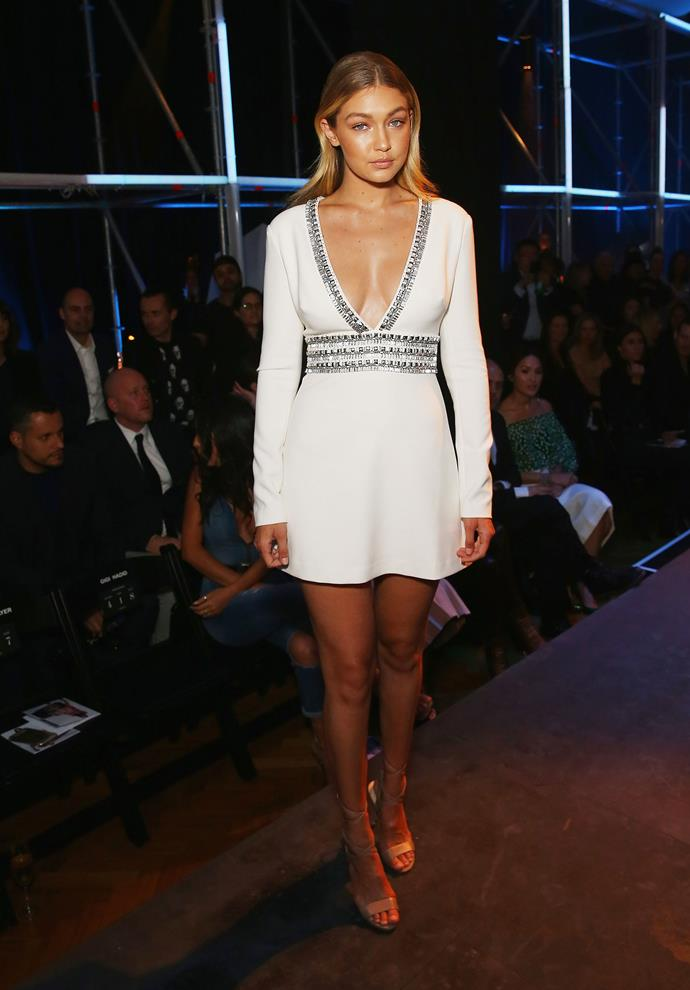 Gigi Hadid in Marciano at the Spring/Summer 2015 Launch for David Jones Store.