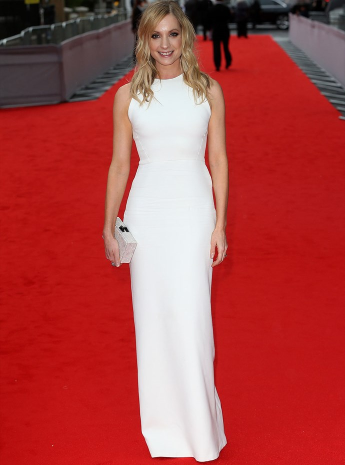 *Downton* star Joanne Froggatt also wowed in a simple white gown from Victoria Beckham.