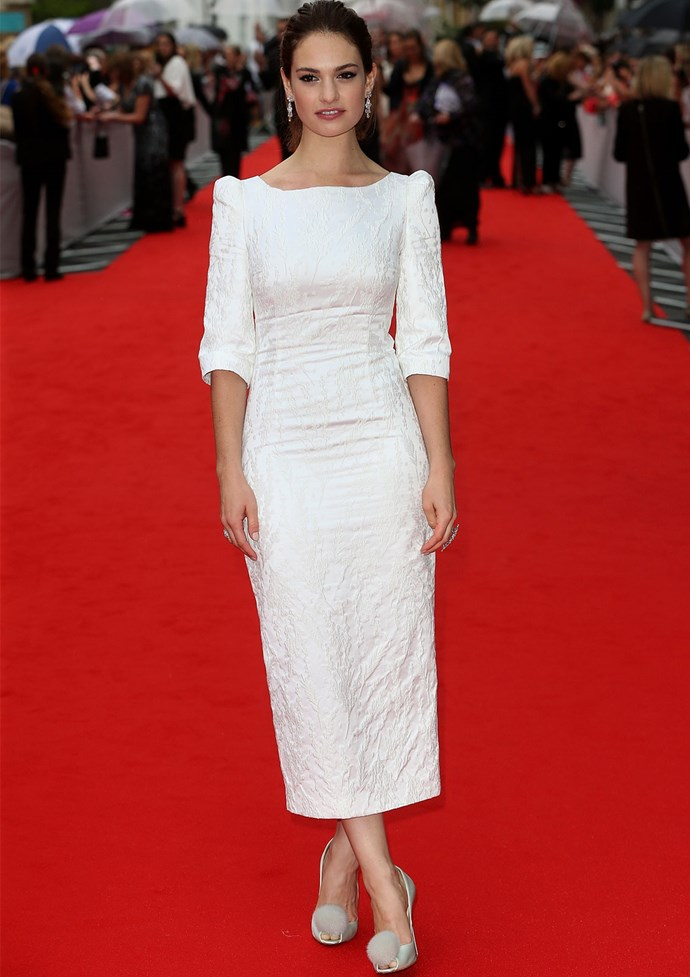 *Cinderella* star Lily James also glammed it up at the event in an Ulyana Sergeenko dress.