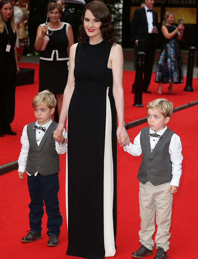 At the same event, her co-star Michelle Dockery looked glam in a black and white gown from Valentino.