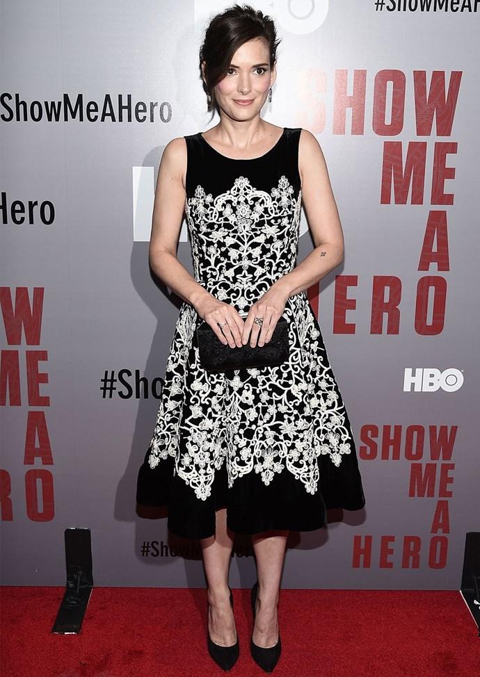Winona Ryder wears an elegant Oscar de la Renta gown at the New York screening of *Show Me A Hero*