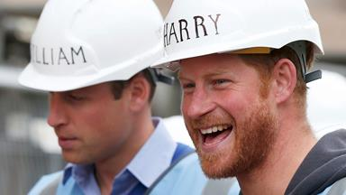 Prince William and Prince Harry help build houses for veterans
