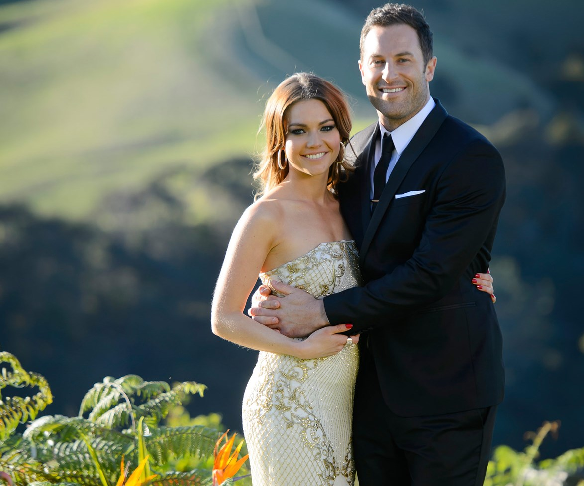 The pair during happier times on the set of *The Bachelorette*.