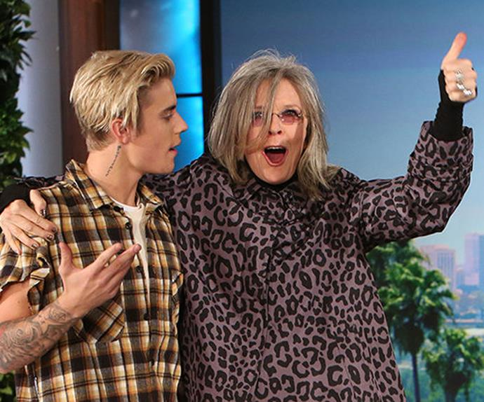 Justin Bieber and Diane Keaton