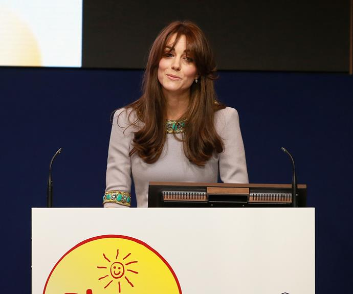 **Conquering her fears:** She rarely gives public speeches but in 2015 Catherine took to the podium to deliver a powerful address at the the Place2Be Headteacher Conference in London.